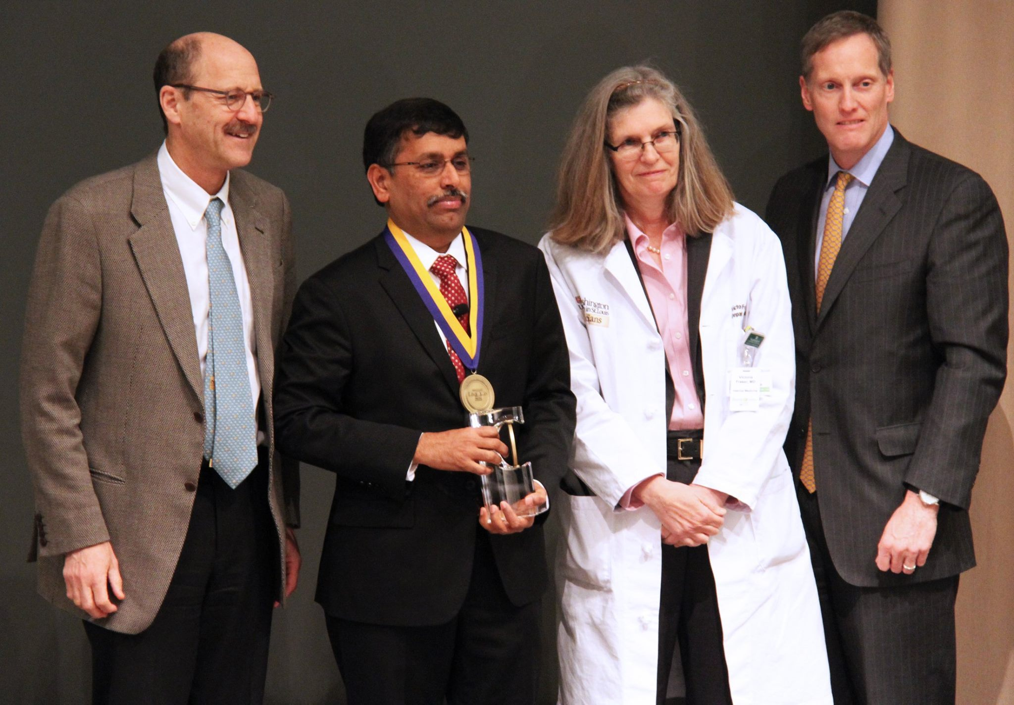 Ramaswamy Govindan, MD, (second from left) was been named the Anheuser-Busch Endowed Chair in Medical Oncology during an installation ceremony on Jan. 12.