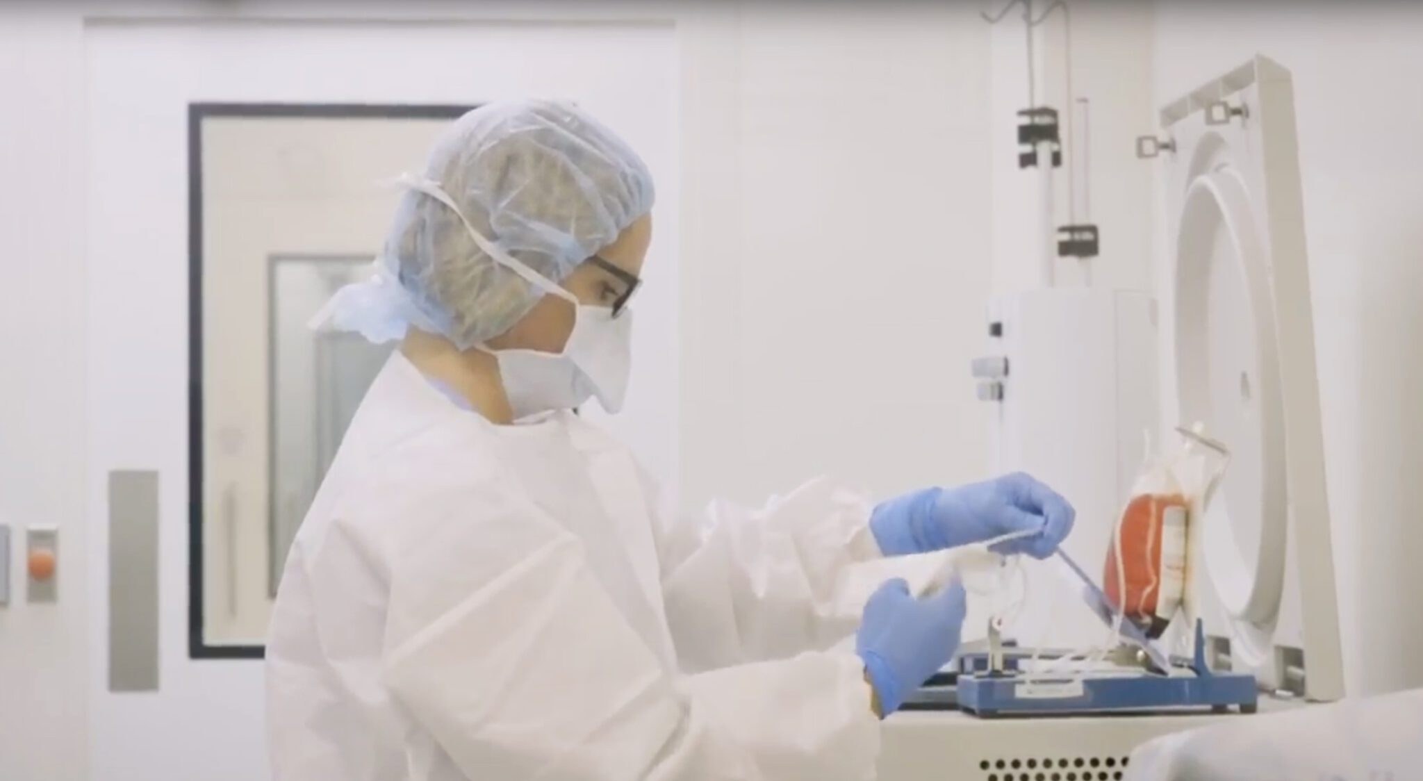 technician in a CAR-T Cell manufacturing lab