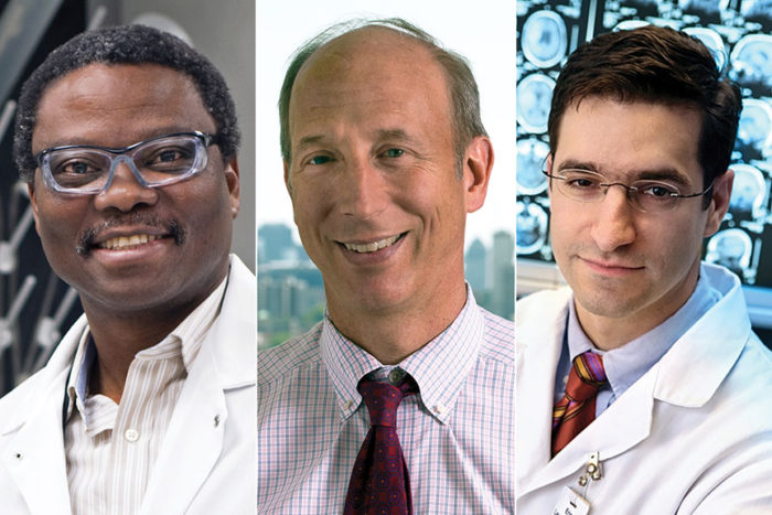 Washington University School of Medicine in St. Louis professors Samuel Achilefu, PhD, David Holtzman, MD, and Eric Leuthardt, MD (left to right, above) have been elected to the National Academy of Inventors.