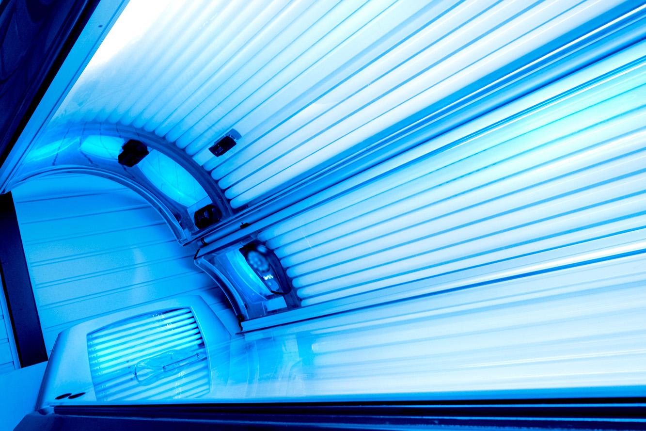 Tanning Bed Open And Lights Switched On