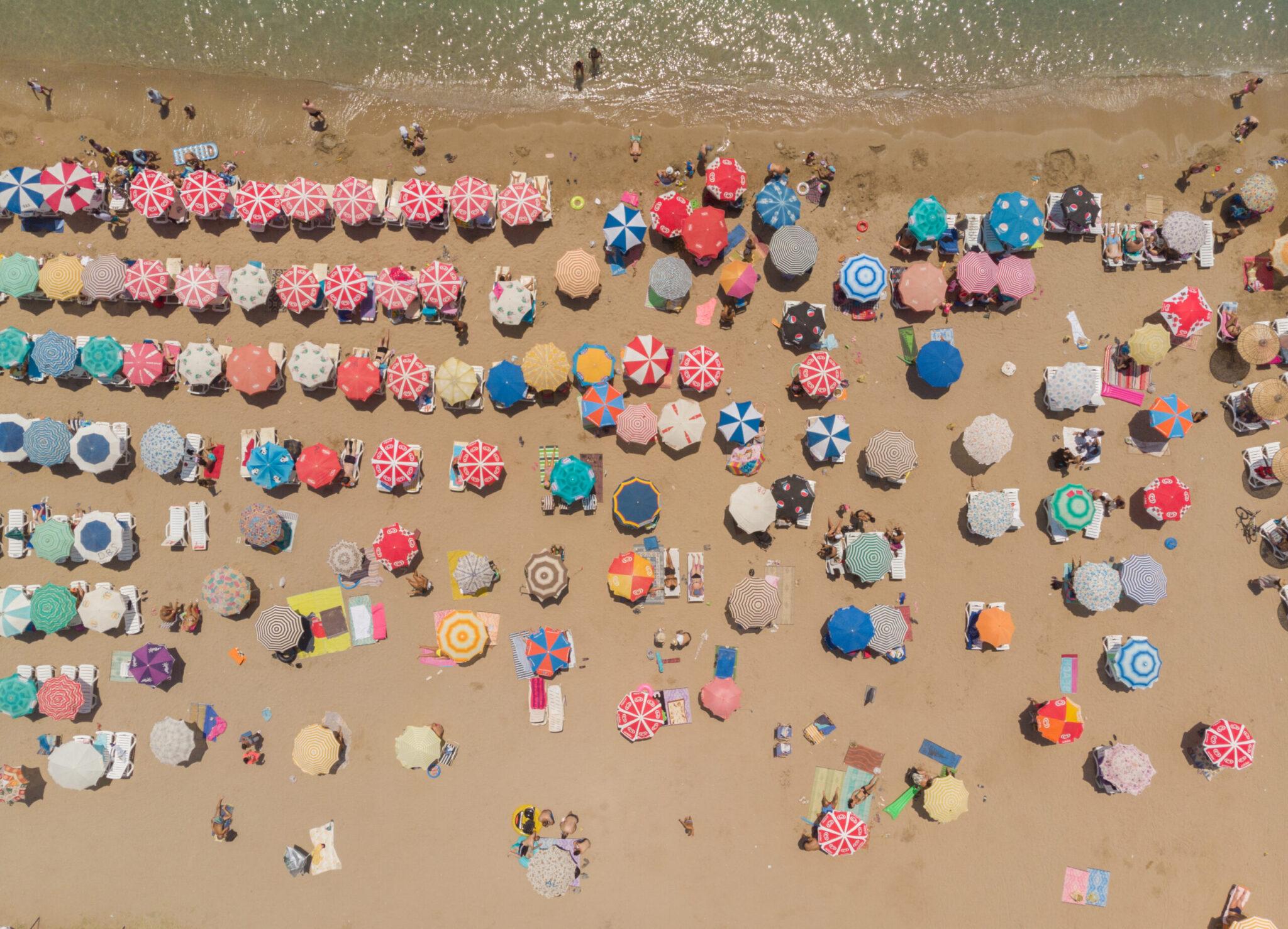 Aerial View Of Umbrellas In A Beach